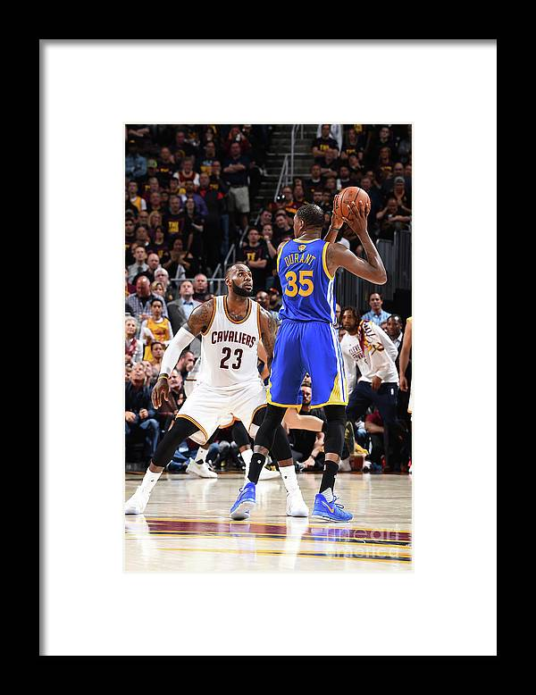 Playoffs Framed Print featuring the photograph Kevin Durant and Lebron James by Andrew D. Bernstein