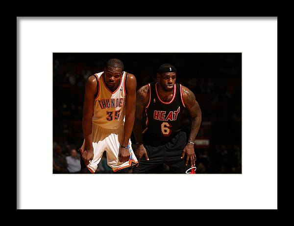 Nba Pro Basketball Framed Print featuring the photograph Kevin Durant and Lebron James by Issac Baldizon