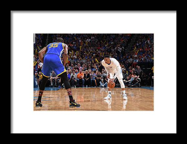 Nba Pro Basketball Framed Print featuring the photograph Kevin Durant and Russell Westbrook by Andrew D. Bernstein