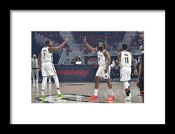 Nba Pro Basketball Framed Print featuring the photograph Kevin Durant, Kyrie Irving, and James Harden by David Liam Kyle