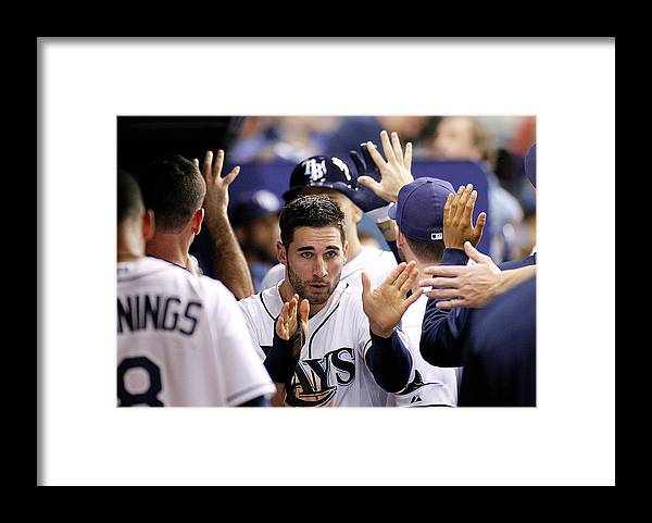 American League Baseball Framed Print featuring the photograph Kevin Kiermaier and James Loney by Brian Blanco