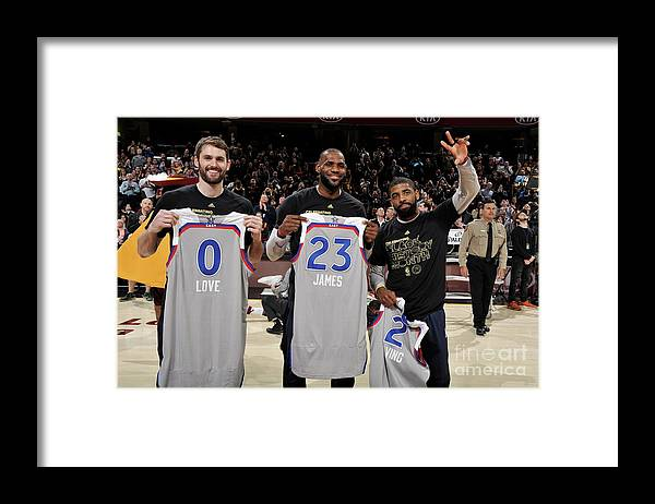 Nba Pro Basketball Framed Print featuring the photograph Kevin Love, Kyrie Irving, and Lebron James by David Liam Kyle