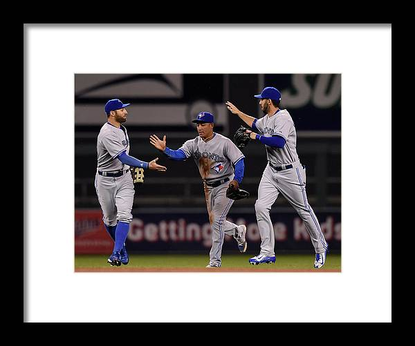 People Framed Print featuring the photograph Kevin Pillar, Chris Colabello, and Ezequiel Carrera by Hannah Foslien