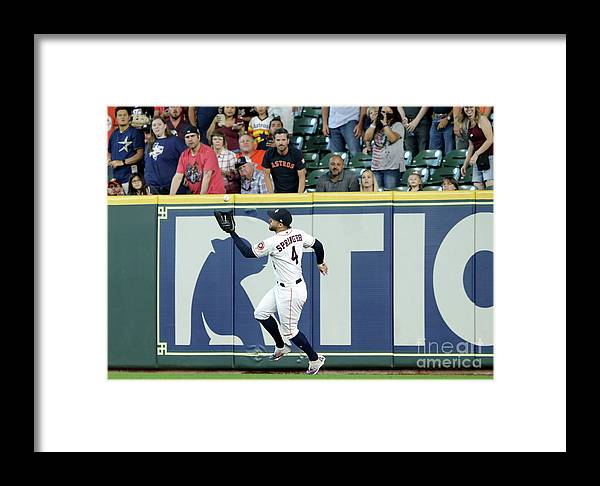 People Framed Print featuring the photograph Khris Davis And George Springer by Tim Warner