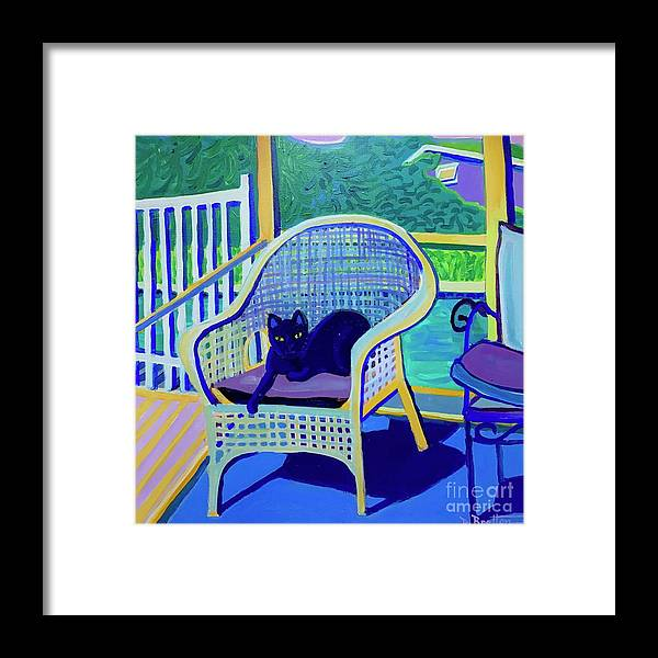 Black Cat Framed Print featuring the painting King Louis in the Screened Porch by Debra Bretton Robinson