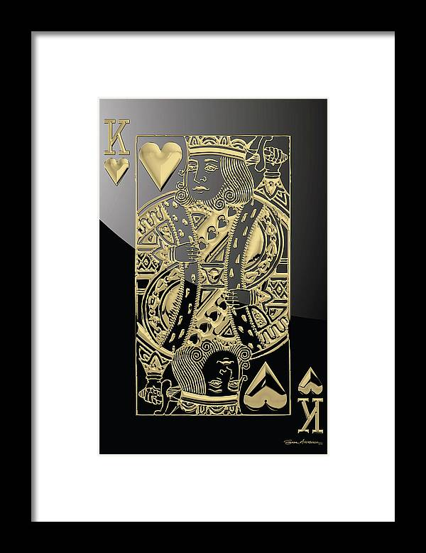 'gamble' Collection By Serge Averbukh Framed Print featuring the digital art King of Hearts in Gold on Black by Serge Averbukh