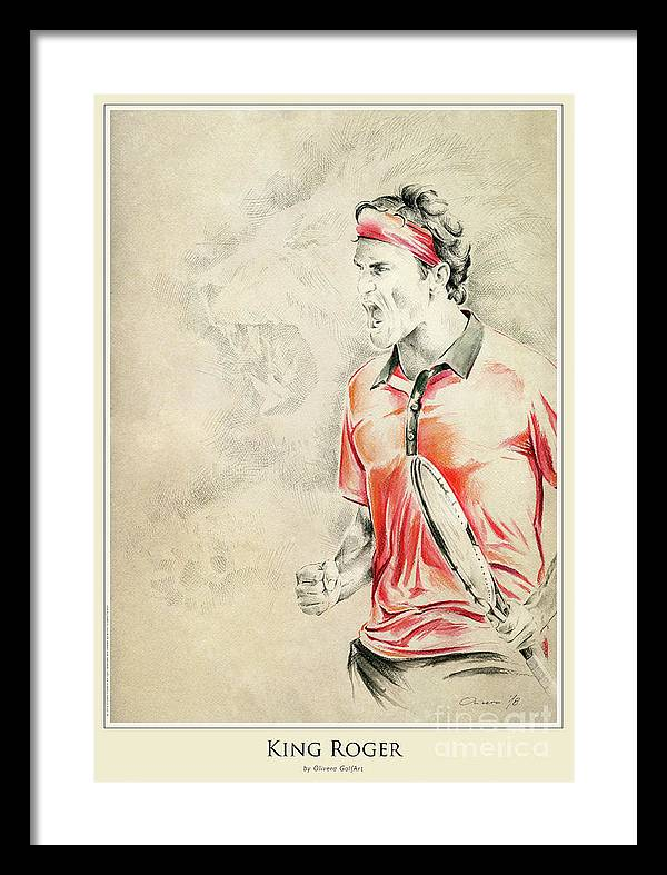 Golfer Framed Print featuring the painting King Roger - Poster by Olivera Cejovic