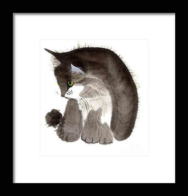 A Kitten Is Looking Attentively. This Is A Contemporary Chinese Ink And Color On Rice Paper Painting With Simple Zen Style Brush Strokes.  Framed Print featuring the painting Kitten by Mui-Joo Wee