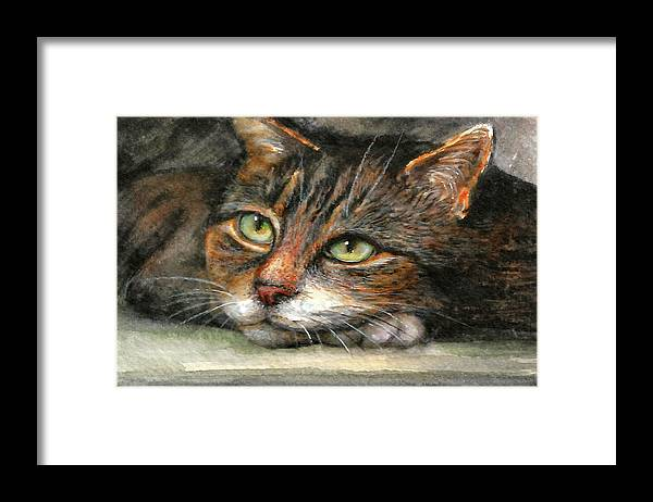 Cat Framed Print featuring the painting Kitty by Natalja Picugina