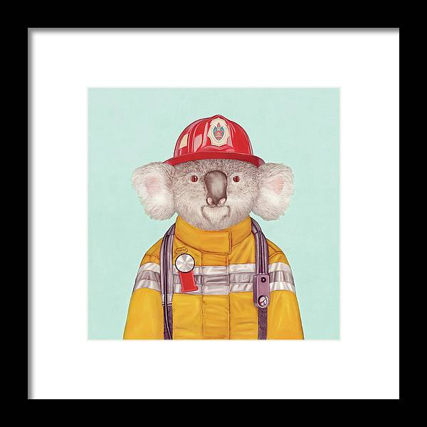 Framed Print featuring the painting Koala Firefighter by Animal Crew