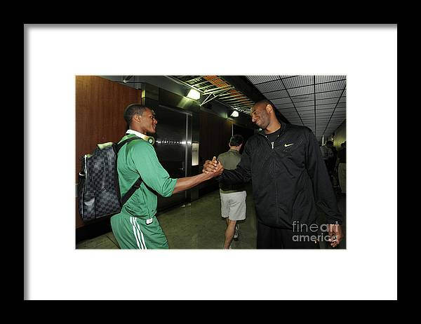 Playoffs Framed Print featuring the photograph Kobe Bryant and Rajon Rondo by Andrew D. Bernstein