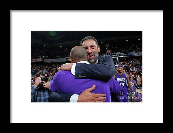 Nba Pro Basketball Framed Print featuring the photograph Kobe Bryant and Vlade Divac by Rocky Widner