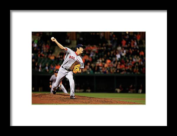 Ninth Inning Framed Print featuring the photograph Koji Uehara by Rob Carr