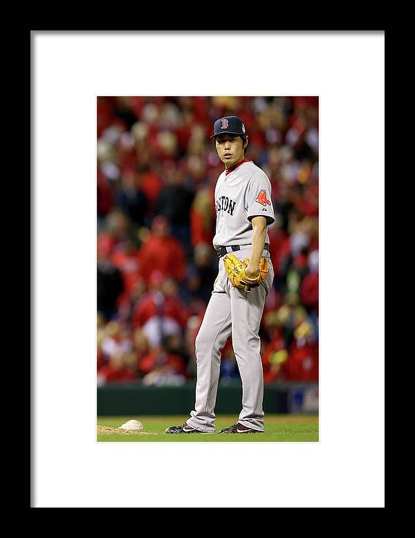Ninth Inning Framed Print featuring the photograph Koji Uehara by Ronald Martinez