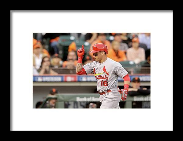 St. Louis Cardinals Framed Print featuring the photograph Kolten Wong by Ezra Shaw