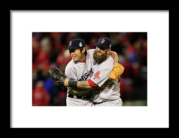 American League Baseball Framed Print featuring the photograph Kolten Wong, Mike Napoli, and Koji Uehara by Dilip Vishwanat