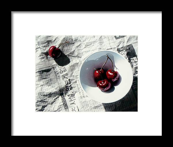 Cherries Framed Print featuring the painting Korean Cherries by Dianna Ponting
