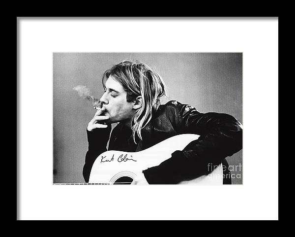 Kurt Cobain Framed Print featuring the photograph KURT COBAIN - SMOKING POSTER - 24x36 MUSIC GUITAR NIRVANA by Trindira A