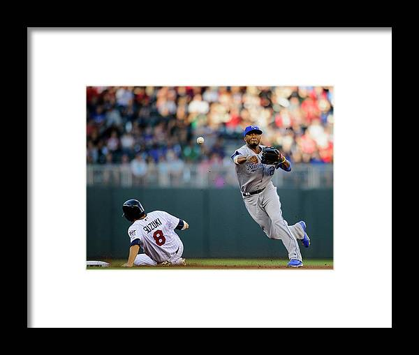 Double Play Framed Print featuring the photograph Kurt Suzuki and Alcides Escobar by Hannah Foslien