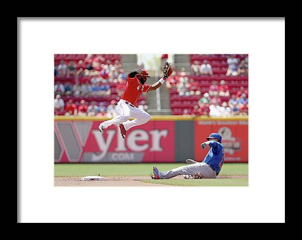Great American Ball Park Framed Print featuring the photograph Kyle Schwarber And Brandon Phillips by Andy Lyons