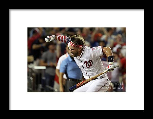 Three Quarter Length Framed Print featuring the photograph Kyle Schwarber And Bryce Harper by Patrick Smith
