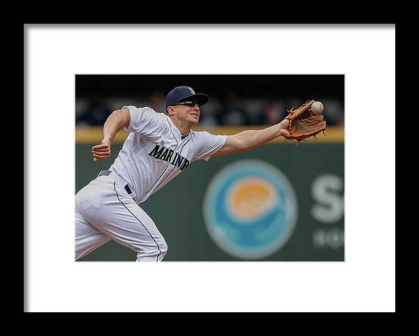 American League Baseball Framed Print featuring the photograph Kyle Seager and Chris Denorfia by Otto Greule Jr