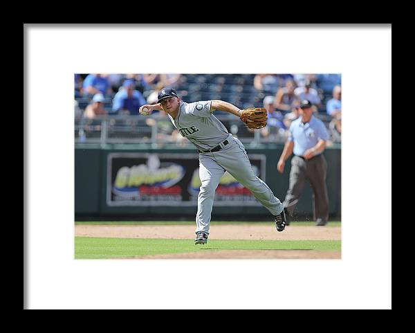 Salvador Perez Diaz Framed Print featuring the photograph Kyle Seager by Ed Zurga