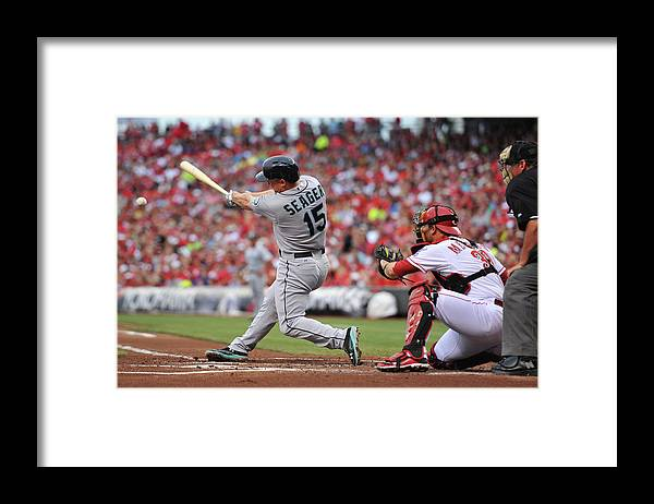 Great American Ball Park Framed Print featuring the photograph Kyle Seager by Jamie Sabau
