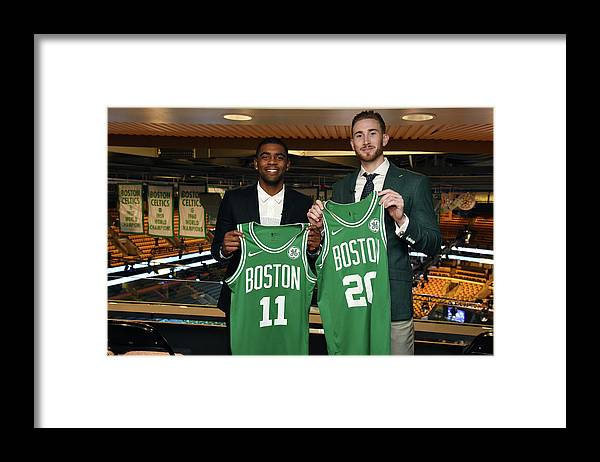 Nba Pro Basketball Framed Print featuring the photograph Kyrie Irving and Gordon Hayward by Brian Babineau