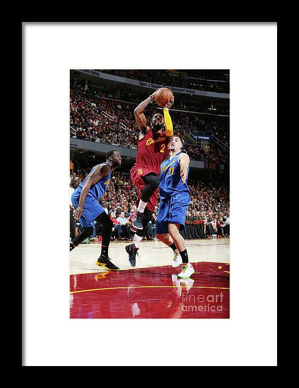 Nba Pro Basketball Framed Print featuring the photograph Kyrie Irving and Klay Thompson by David Sherman