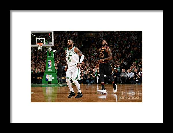 Nba Pro Basketball Framed Print featuring the photograph Kyrie Irving and Lebron James by Brian Babineau