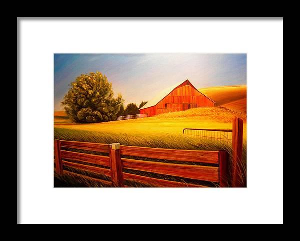 Wheat Framed Print featuring the painting La Crosse Barn by Leonard Heid