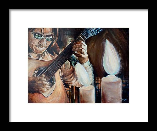 Guitar Framed Print featuring the painting La Guitarra- Portuguese Guitar by Jennifer Lycke