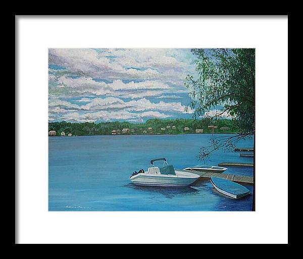 Lake Framed Print featuring the painting Lake Quinsigamond In Massachusetts Acrylic by Rebecca Marona