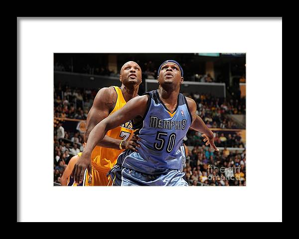 Nba Pro Basketball Framed Print featuring the photograph Lamar Odom and Zach Randolph by Andrew D. Bernstein