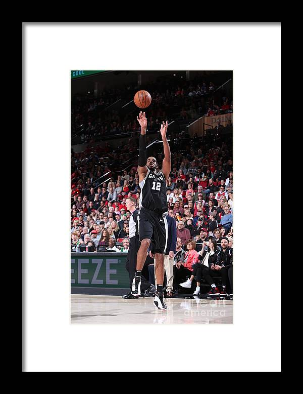 Nba Pro Basketball Framed Print featuring the photograph Lamarcus Aldridge and Jakob Poeltl by Sam Forencich