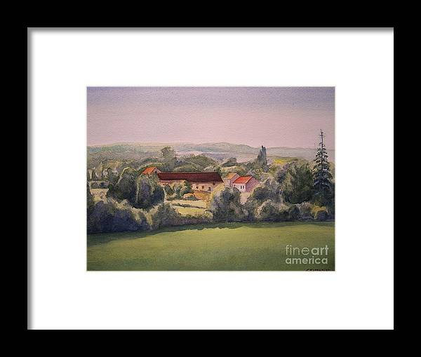 Watercolor Framed Print featuring the painting Landscape In Normandie Perche by Christian Simonian