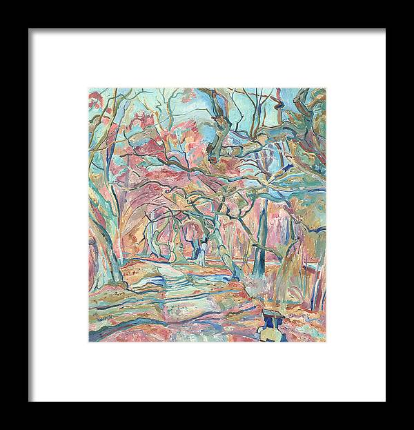 Landscape Framed Print featuring the painting Landscape of a path in a park in spring with sunlit trees and bench by Vitali Komarov