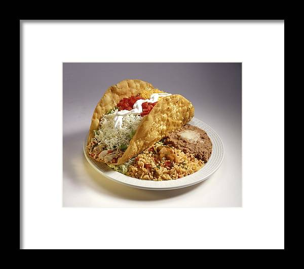 Chicken Meat Framed Print featuring the photograph Large taco entree by Jupiterimages