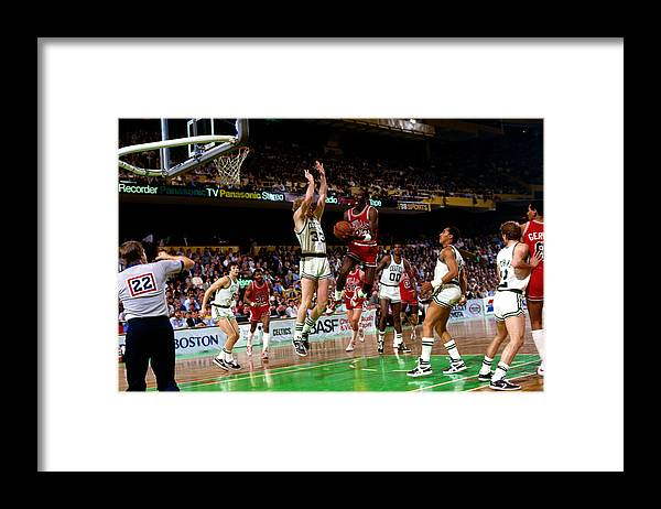 Chicago Bulls Framed Print featuring the photograph Larry Bird and Michael Jordan by Dick Raphael