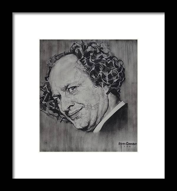 Charcoal Pencil Framed Print featuring the drawing Larry Fine Of The Three Stooges - Where's Your Dignity? by Sean Connolly