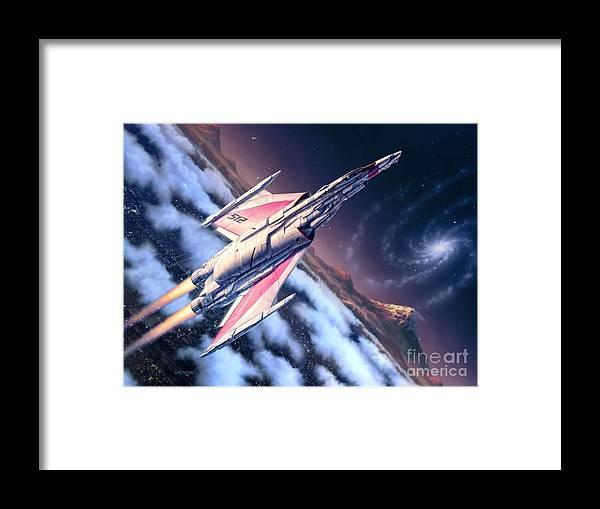 Spaceship Framed Print featuring the digital art Launch At Dawn by Stu Shepherd