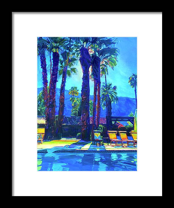 Mountains Framed Print featuring the painting Lazy Day by the Pool by Bonnie Lambert