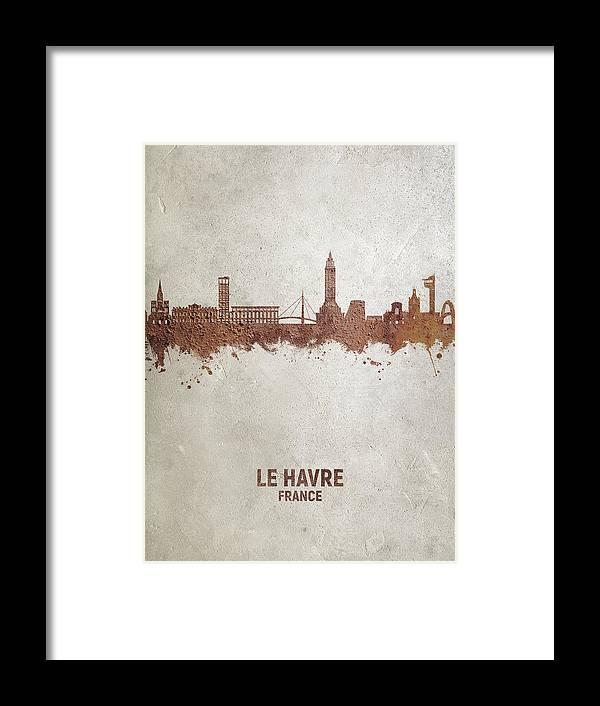 Le Havre Framed Print featuring the digital art Le Havre France Skyline #63 by Michael Tompsett