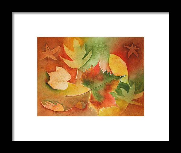 Leaves Framed Print featuring the painting Leaves III by Patricia Novack