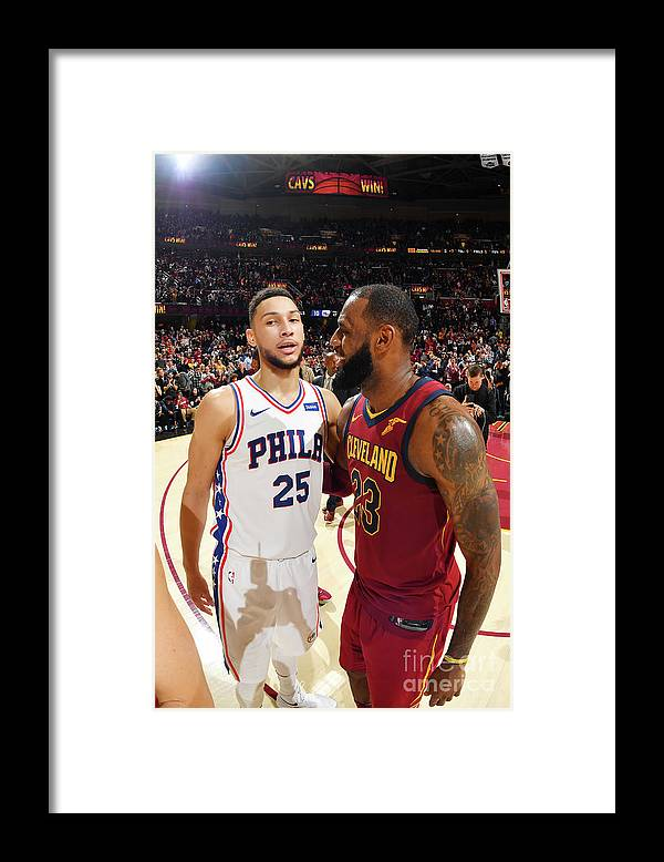 Nba Pro Basketball Framed Print featuring the photograph Lebron James and Ben Simmons by Jesse D. Garrabrant