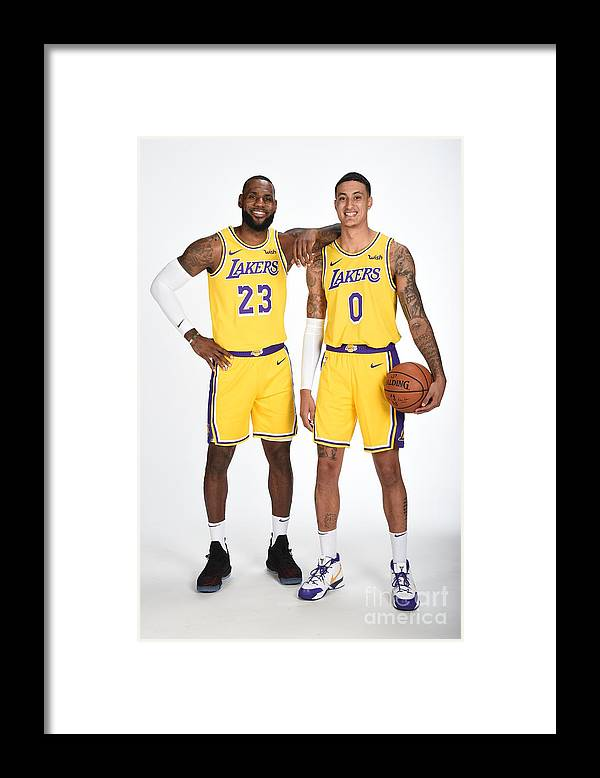 Media Day Framed Print featuring the photograph Lebron James and Kyle Kuzma by Andrew D. Bernstein