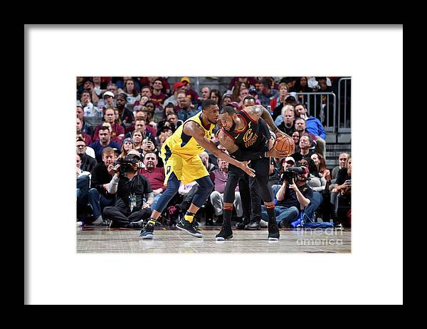Playoffs Framed Print featuring the photograph Lebron James and Thaddeus Young by David Liam Kyle