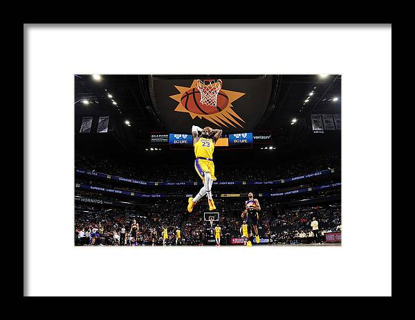 Playoffs Framed Print featuring the photograph Lebron James by Barry Gossage