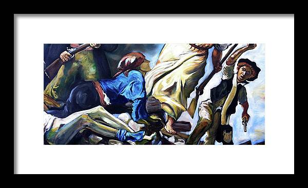 Liberty Framed Print featuring the painting Liberty Leading the People by Buffalo Bonker
